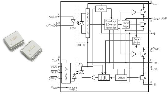 Broadcom ACPL-352J, драйвер затвора IGBT/MOSFET с оптической развязкой, схема